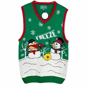 UGLY CHRISTMAS SWEATER green snowman sweater vest